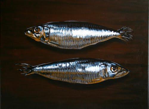 'sardines arengades' oli sobre tela 30 x 40cm.